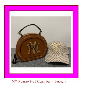 brown NY purse and cap