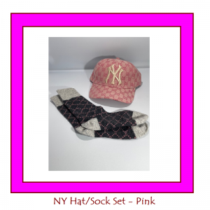 hat sock set pink