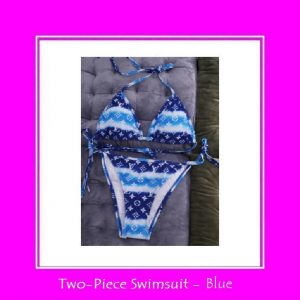 blue two-piece swimsuit